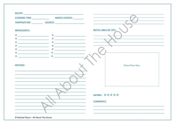 EDITABLE Printable Recipe Sheet Template Meal by