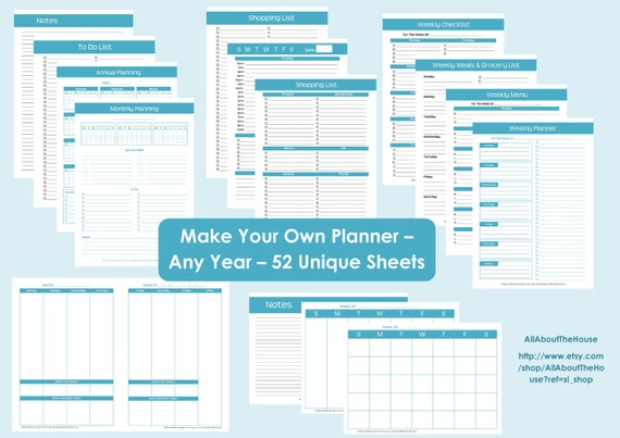 Printable Planner Personalised Diary Planner Agenda Any