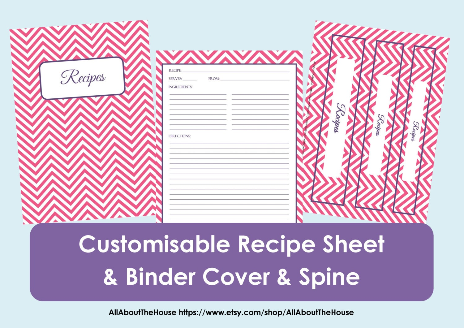 Printable Cookbook Cover : Printable recipe sheet template card binder