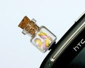 Anti dust plug for phone - Marshmallow bottle  kawaii Polymer clay miniature food jewelry