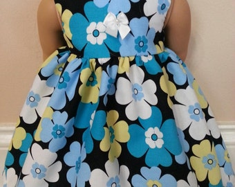 Free Shipping on all orders! American Girl doll dress, fits 18 inch dolls, blue floral print sleeveless dress