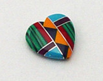 Zuni Inlayed Small Heart  9 x 8mm Native American.