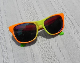 Vintage Sunglasses Neon Sports Mirror Lens Plastic Water Proof