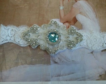 Wedding Toss Garter - Something Blue - Aquamarine Crystal Rhinestone on a White Lace  - Style TG705