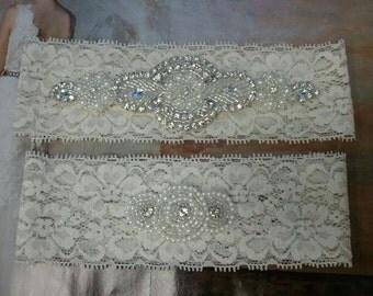 Bridal Garter, Wedding Garter and Toss Garter -Pearl & Crystal Rhinestone IVORY Garter Set - Style G2098-C