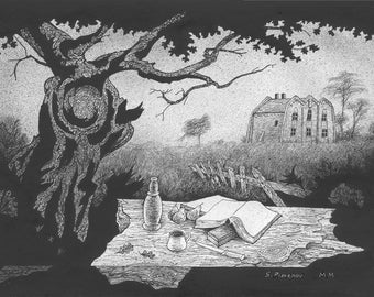 Country House, with Still Life, original black and white drawing on paper