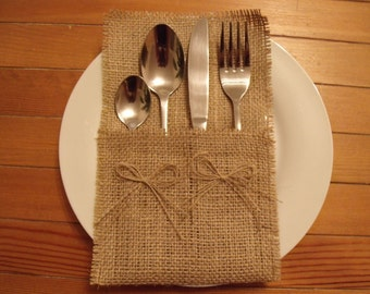 Burlap Silverware Holders with Two Bows , Rustic Wedding,Set of 100