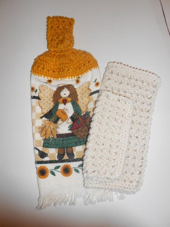 Colgar toallas paños crochet cocina por easttennesseecrafts en etsy