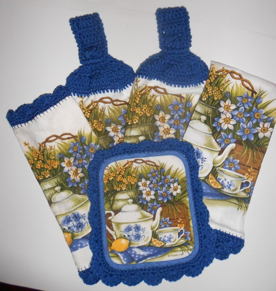 Kitchen Towel Set Crochet Trim Hanging Towels Pot Holder