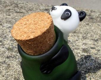 "Hand Crafted 4"" Pyrex Panda Jar - J*012PA"
