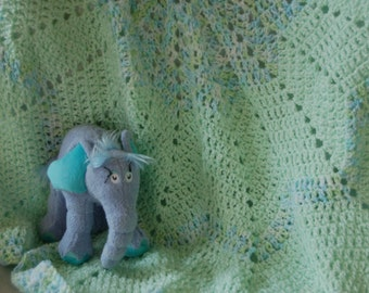 Green with Blue Baby Afghan