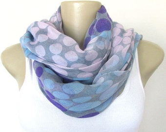 Scarf - Grey Pink Blue and Purple Dots Large Scarf