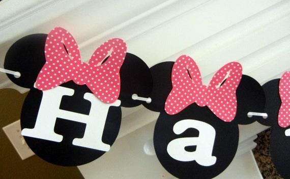 Items similar to Banner de feliz cumpleaños Minnie Mouse, Minnie ...