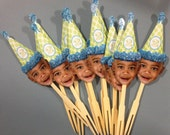 Photo cupcake toppers with any color dot hat. set of 12