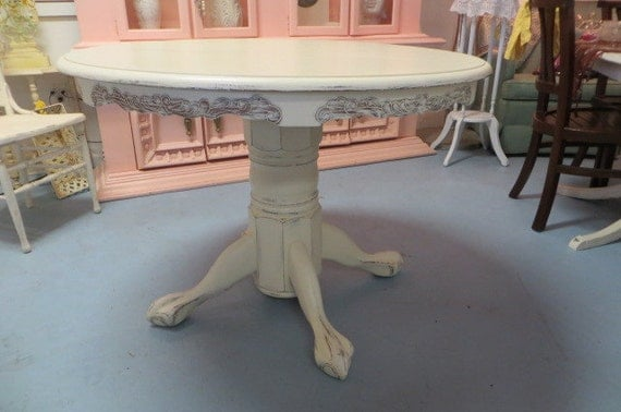 Shabby Chic Breakfast Table: Shabby Chic White Round Carved Dining Table By TheYellowCanopy