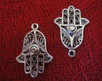 925 sterling silver oxidized Hamsa Hand charm, pendant 1 pc.