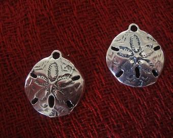 925 sterling silver oxidized  sand dollar charm, pendant 1 pc., sand dollar, beach charm, sea life
