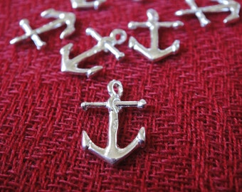 925 Sterling Silver  Anchor Charm, Anchor charm 1 pc., shiny silver