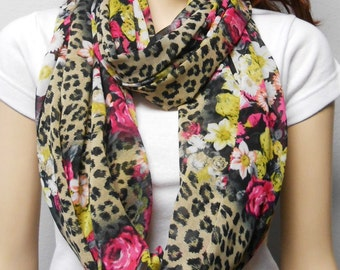 Leopard in The Garden --sheer  Infinity Scarf--Light & Breezy