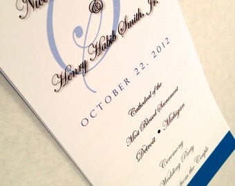 4 PAGE - WE Personalize It - YOU Print It - Layered Wedding Program - Last Initial Design