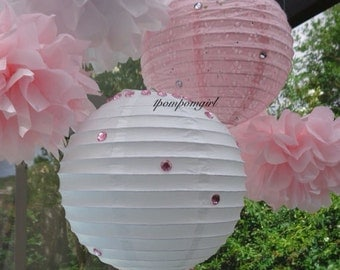 TISSUE POMS & LANTERNS / 3 tissue paper pom poms/2 paper lanterns / Wedding, Reception, Bridal Shower, Baby Shower, Birthday, Nursery