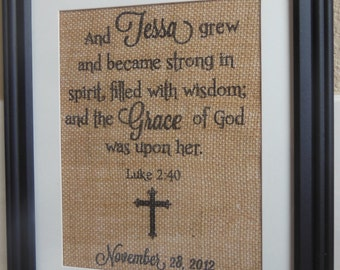 Burlap Print for Newborn baby, Baby Dedication or Baby Christening, Baptism - great gift / present