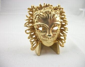 Vintage AJC Gold Tone Phantom Mask Brooch