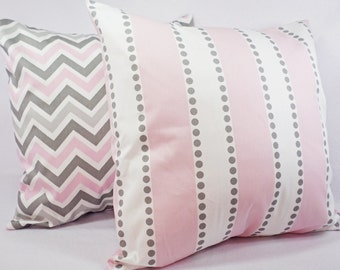 Pink Pillow Covers - Two Pillow Covers Baby Pink Grey and White - Throw Pillow Couch Pillow Cushion Cover Accent Pillow