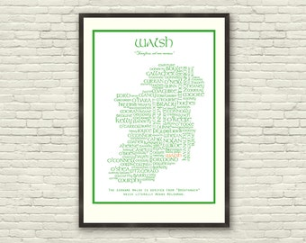 """Customised """"Surnames of Ireland"""" Map - Unique A3 or A4 Print (Irish, Names, St. Patrick's Day, Love, Celtic)"""
