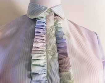 Pastel striped ruffle button up blouse