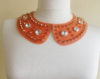 detachable imitation leather peter pan collar necklace beads bridal wedding christmas gift for her halloween orange nr. 44