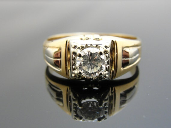 14k Art Deco Mens Or Ladies Two Tone Ring With Large Diamond