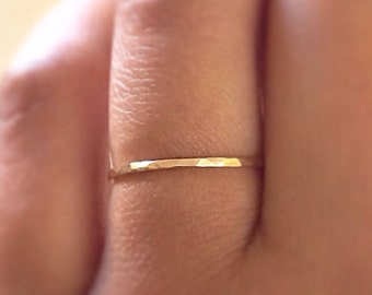 SKINNY Gold Stack RIng,14k Gold Filled Stacking Ring, Gold Band Ring, Hammered Gold Ring, Minimalist Jewelry,stackable rings