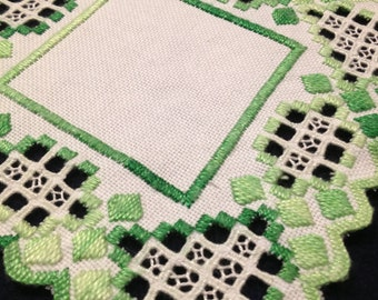 Sweet Hardanger embroidered linen tablecloth. Scandinavian handcraft.