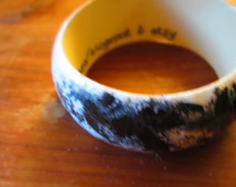 Handpainted Wooden Bangle in a  Gray Sky-inspired Design