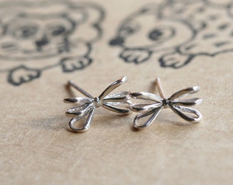 small ribbon sterling silver earrings silver 925 post studs