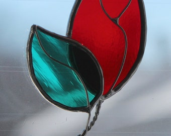 Rose Stained Glass Ornament or Suncatcher