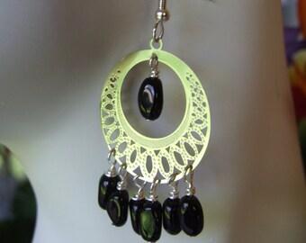 laser cut lace circle earrings 0654EA