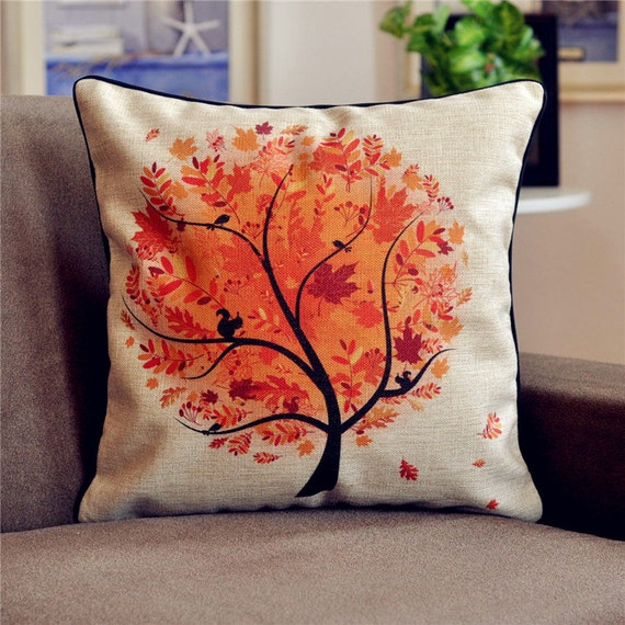 French Country Retro Vintage Autumn Tree Cotton Linen Decorative Pillows Cushion Cover Pillow Cover Sham A022