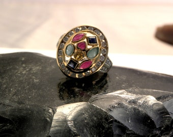 Multi Gemstone & Diamond Ring Vintage 3.00 ctw, 14kt Gld, Size 7