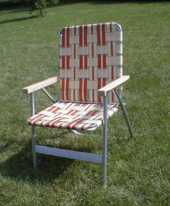 Vintage folding aluminum web lawnchair lawn by for Lawn chair webbing