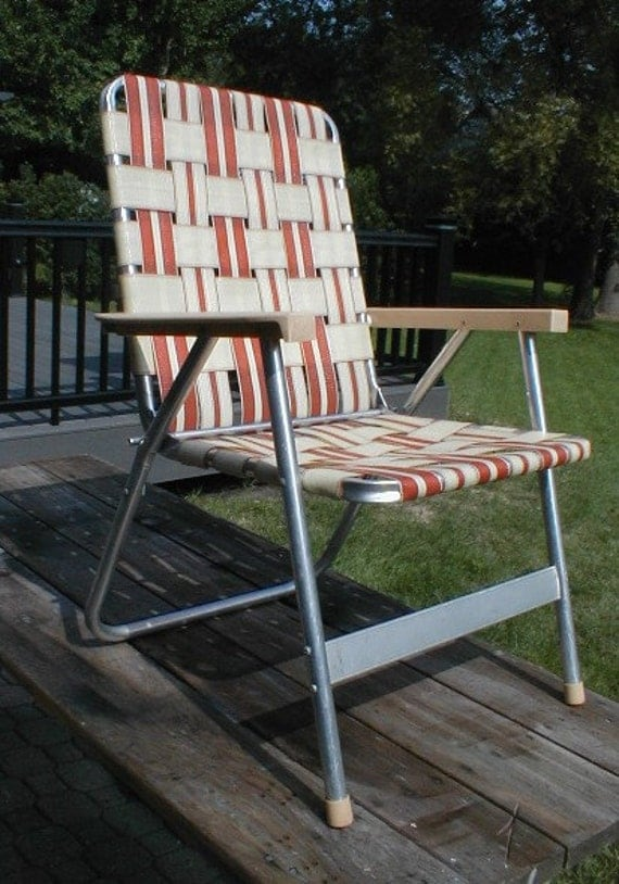 Vintage Folding Aluminum Web Lawn Patio Chair Webbed 1980s