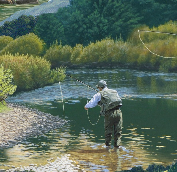 Top rod fabric by the yard elizabeth 39 s studio fishing in for Best fishing lakes in illinois