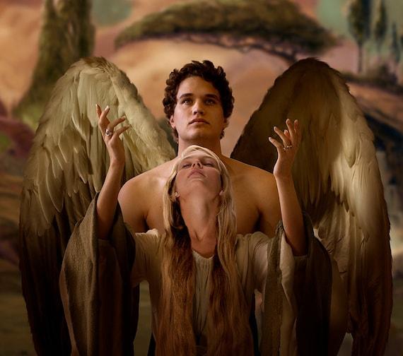 Angel painting  Guardian angel  Angel art  Angel  Angel print    Angels Demons Painting