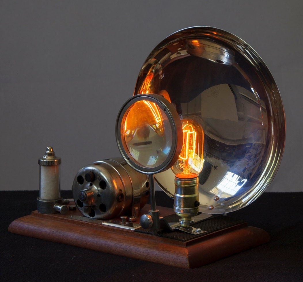 Steampunk Magnilight Desktop Light Made With Magnifying Glass