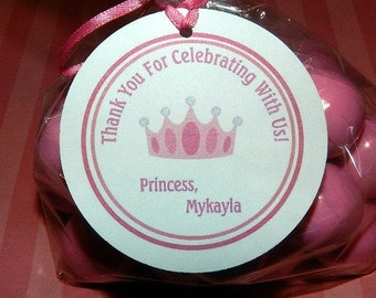 Princess Birthday Favor Tags , Princess Birthday