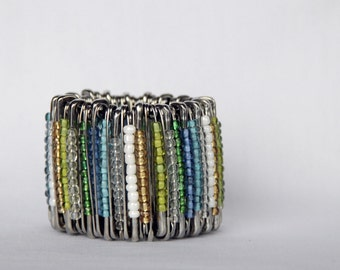 Shiny Safety Pin Bracelet in Forest Lake colours, Blues, Greens, Sand, White