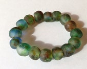 Blue Brown Green Swirl Ghana Glass Bead Bracelet