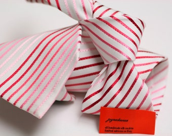 Silk Tie (3.5 inch) in Stripes with White, Red, Pink