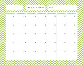 Custom Family Planning Dry Erase Calendar - Digital File (for a 16x20 standard frame)